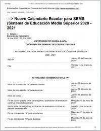 Nuevo Calendario Escolar SEMS 2020 - 2021